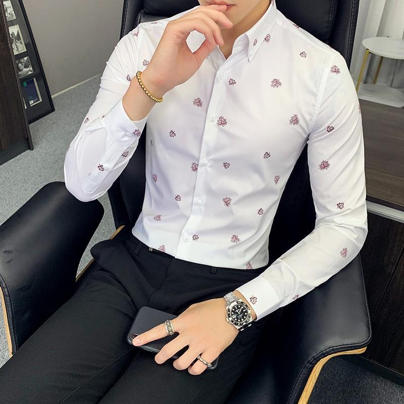 High Quality Men Dress Shirt Long Sleeve Business Shirts Casual Slim Fit Shirts Formal Social Classic Shirt Camisa Masculina
