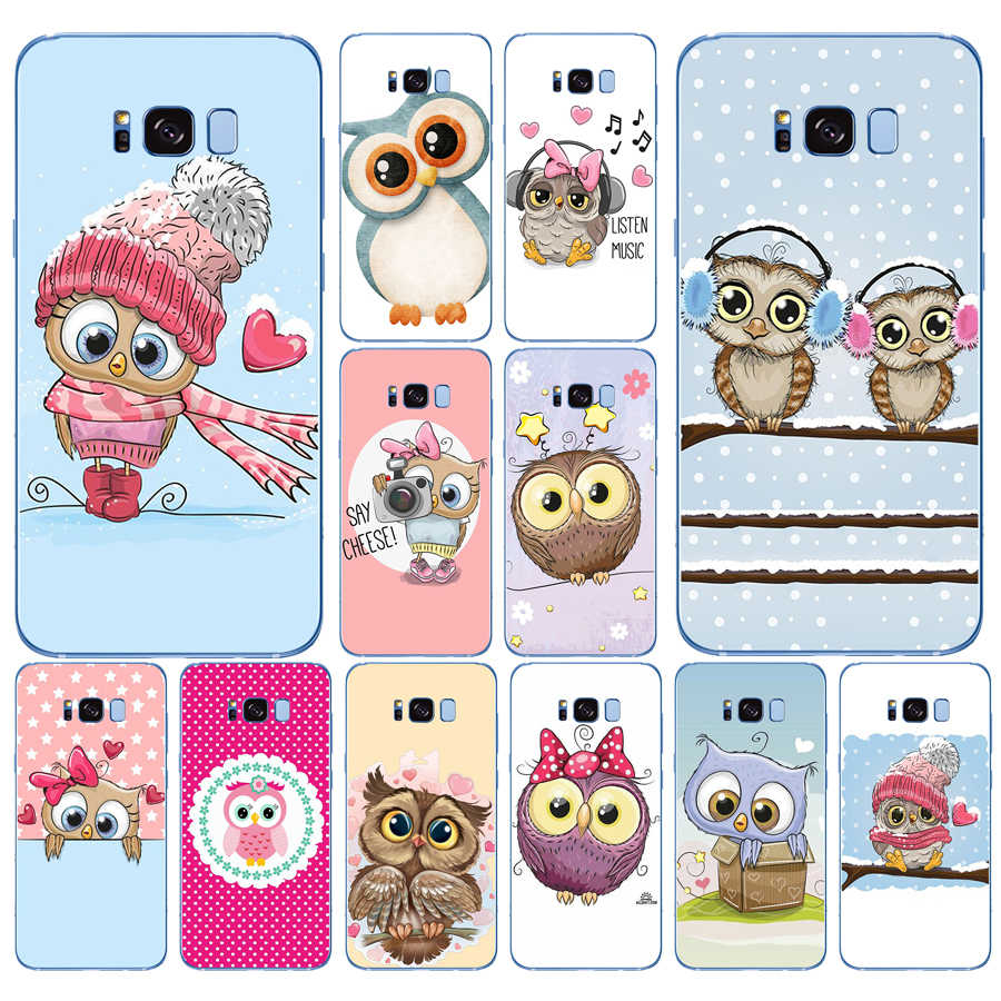 95DD Cute Owl Hearts Lover Christmas Soft Silicone  Cover Case for Samsung Galaxy S6 S7 edge S8 S9 S10 plus A70 A50 case