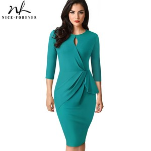 Image 1 - Nice forever Vintage Elegant Pure Color with Keyhole Ruffle vestidos Business Party Bodycon Office Women Dress B540