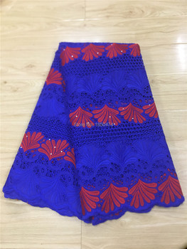Blue Soft Swiss Voile Lace In Switzerland High Quality Nigerian Swiss Cotton Lace Fabrics Stoned Holes Design For Dress Sewing