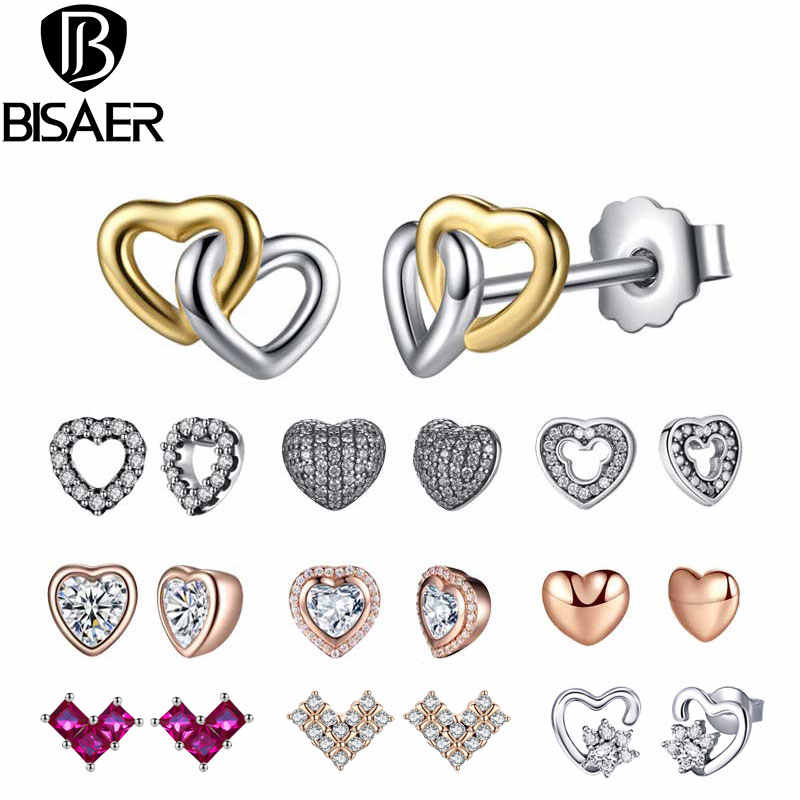 24 Styles 925 Sterling Silver Bowknot Heart Cat Stud Earrings For Women Fashion Small Round Earrings Jewelry Brincos Bijoux Gift