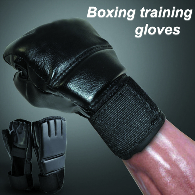 Black Fighting Sports Leather Gloves Tiger Boxing Muay Thai Boxing Gloves Boxing Sanda Boxing Half Finger Gloves 1