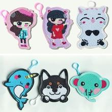 DIY Full Drill Diamond Painting/princess cute animal Cartoon change purse Christmas Gift Diy Keychain Keyrings for Child