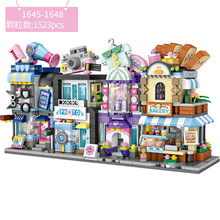 LOZ Mini Block Barber Bakery Photo Clothing Shop Architecture Model Building Blocks City Series Mini Street Store Children Brick