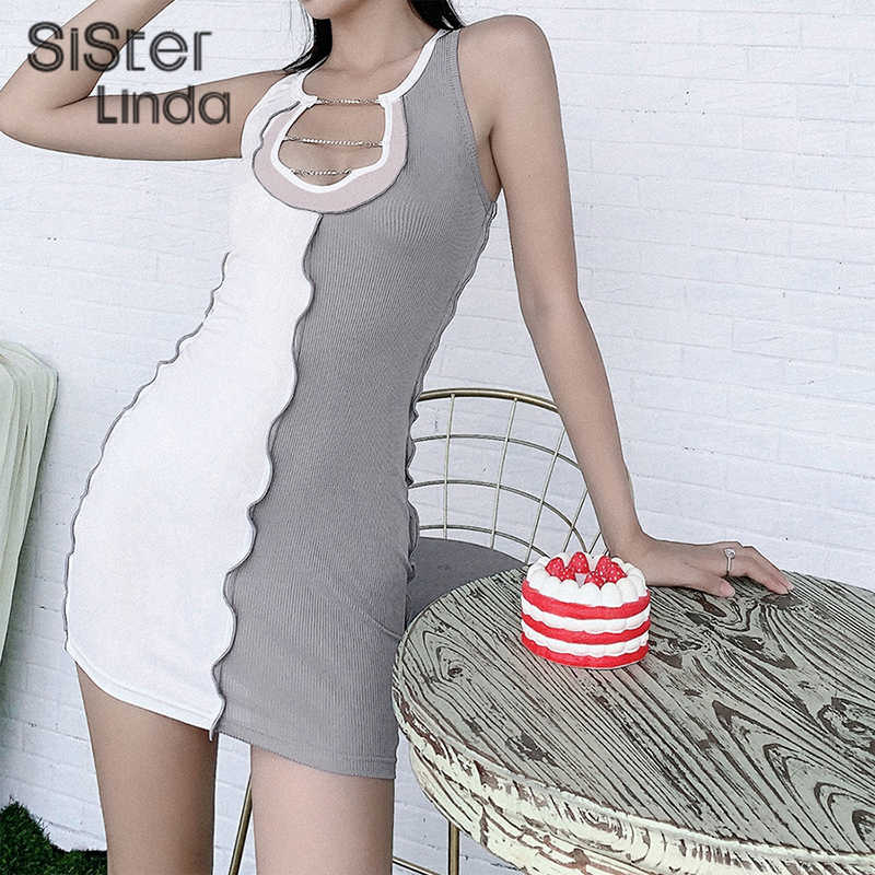 Sisterlinda Fashion Seksi V Leher Bodycon Mini Dress Wanita Rajut Hollow Keluar Patchwork Ruffles Pakaian Jalan Santai Gaun 2020