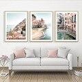 Амальфи побережье морские волны трамвай Венеция скандинавские плакаты и принты настенная живопись холст настенные картины для декора гост...