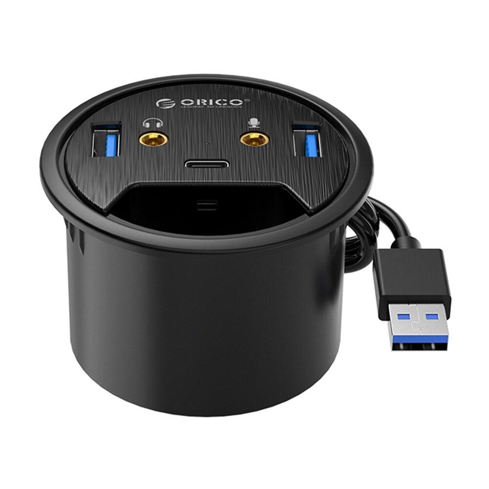 ORICO Desktop Grommet USB 3.0 HUB Type-C Audio Desk Mount Adapter Splitter Computer Peripherals