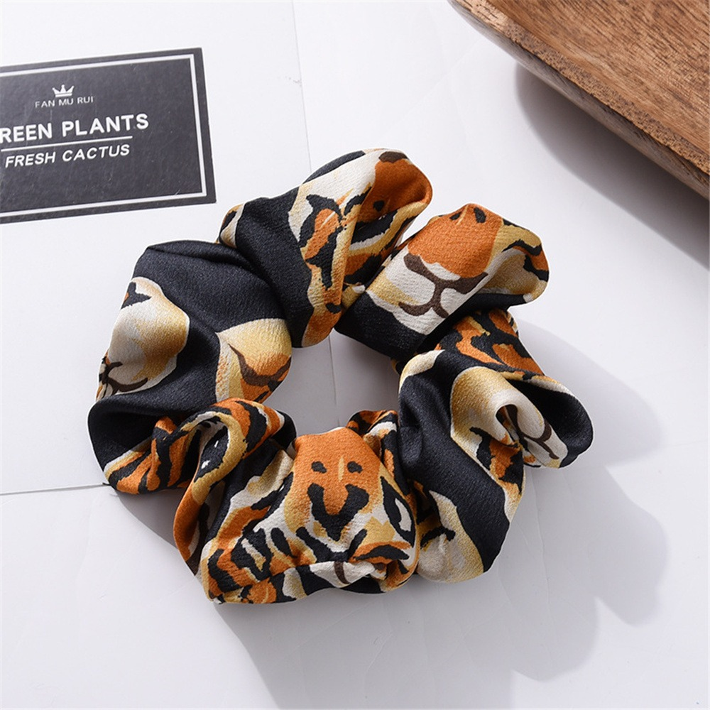 Europe And America Style Tiger Pattern Scrunchies Elastic Headband Women Girls Fashion Hair Tie Ponytail Holder Headwear