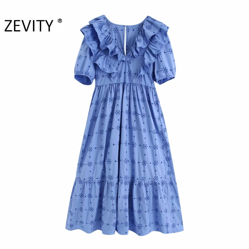 Zevity Women v neck hollow out embroidery pleat ruffles casual slim midi dress female Chic lantern sleeve autumn Dresses DS4321