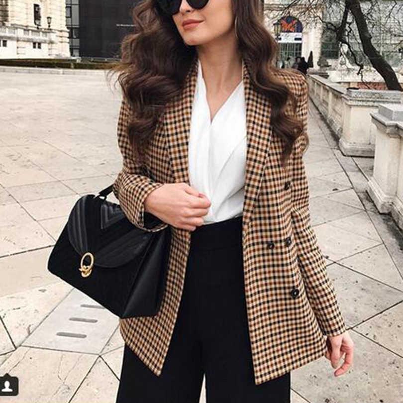 ファッション秋の女性の格子縞のブレザーとジャケット作業オフィスの女性のスーツスリムダブルブレストビジネス女性ブレザーコート Talever