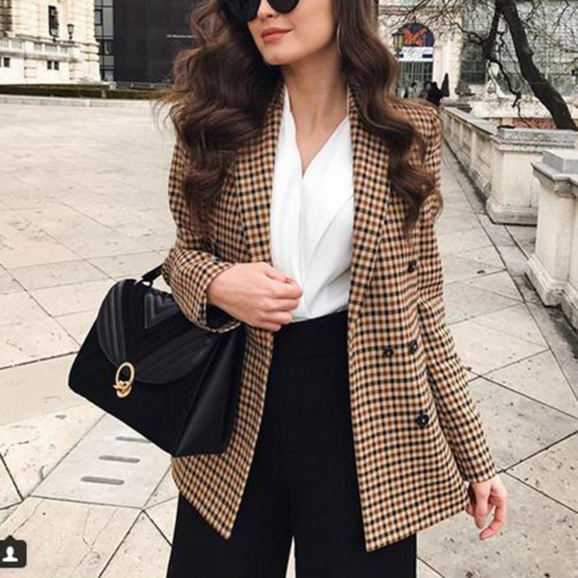 Female Blazer Jackets Suit Coat Work Plaid Business Slim Autumn Office Lady Talever Double-Breasted title=