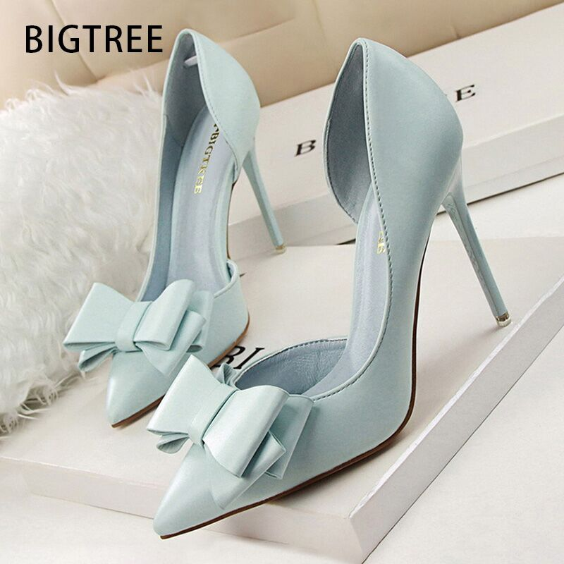 BIGTREE Shoes Bow Women Pumps Pu Leather High Heels Sexy Office Shoes Women Heels Stiletto Ladies Shoes Wedding Free Shipping