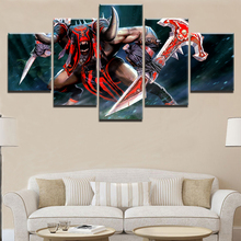 Modern Wall Art Decor Framework Modular Canvas Game Pictures HD Printed Painting 5 Panel Bloodseeker DotA 2 Fire Warrior Poster