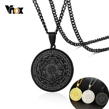 Vnox Black Engraved The Seal of the Seven Archangels Pendants for Men Stainless Steel Round Amulet Necklaces with 24