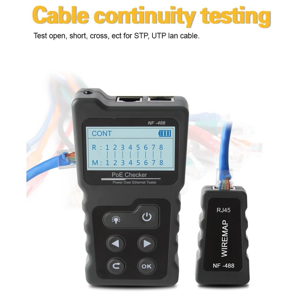 Многофункциональный ЖК тестер сетевого кабеля тестер тока с тестером кабеля и PoE проверки встроенного напряжения PoE