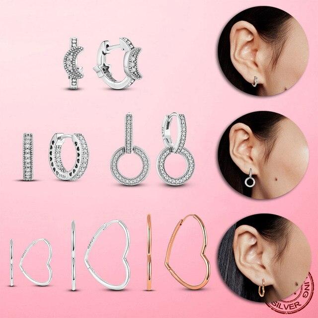 Silver Earrings Real 925 Sterling Silver Big Heart CZ Zircon Round Hoop Earrings for Women Fashion Silver Earring Jewelry Gift 2