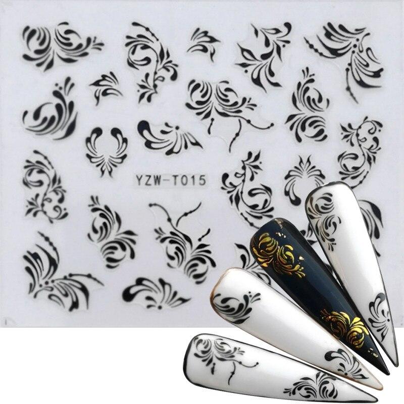 YZWLE 1PC 2020 Nail Sticker Black&Gold Flower/Love/Lace/Letter Vine Diamond Necklace Gel Polish Slider Accessories Nail Decals