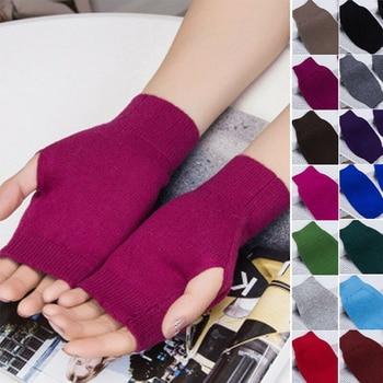 цена на 1 Pair Men Women Unisex Cashmere Fingerless Warm Winter Gloves Hand Wrist Warmer Mittens Harajuku Korean Style for Ladies