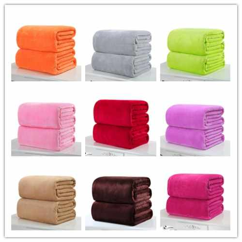 Small Super Warm Solid Color Micro Plush Fleece Blanket Throw Rug for Sofa Office Sleep Fleece Blanket Pet Blanket dropship