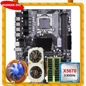HUANANZHI X58 LGA1366 motherboard bundle CPU Intel Xeon X5670 2.93GHz CPU cooler RAM 8G(2*4G) REG ECC video card GTX750Ti 2G 1