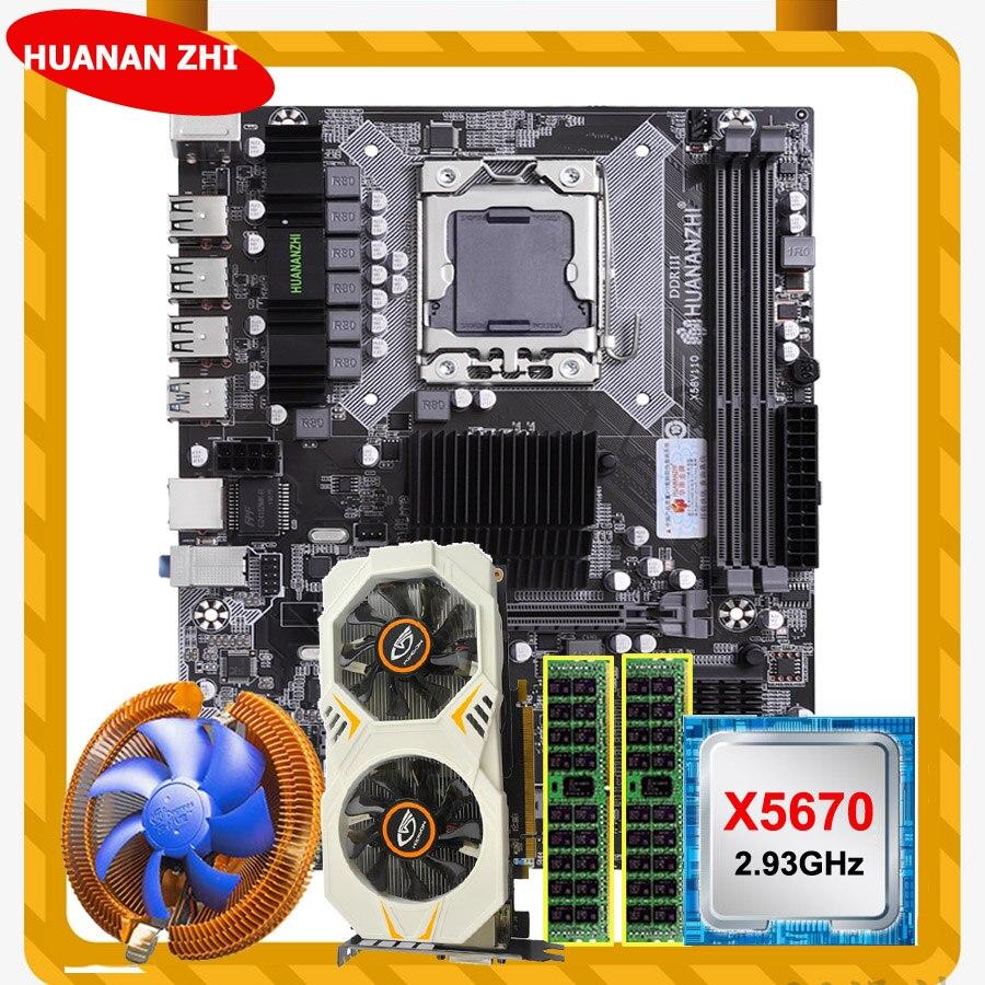 HUANANZHI X58 LGA1366 Motherboard Bundle CPU Intel Xeon X5670 2.93GHz CPU Cooler RAM 8G(2*4G) REG ECC Video Card GTX750Ti 2G