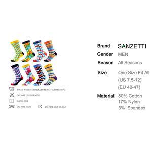 Image 5 - SANZETTI 8 paare/los Kühlen männer Bunte Lustige Gekämmte Baumwolle Neuheit Socken Casual Crew Socken Helle Party Kleid Socken Für geschenke