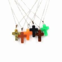 Wholesale Natural Stone Pendant Cross Golden Sand Necklace Stainless Steel for Men Women