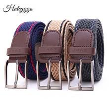 HATCYGGO Canvas Belt For Men Waist Belts Elastic Braided Metal Buckle Casual Unisex Jeans Women Waistband