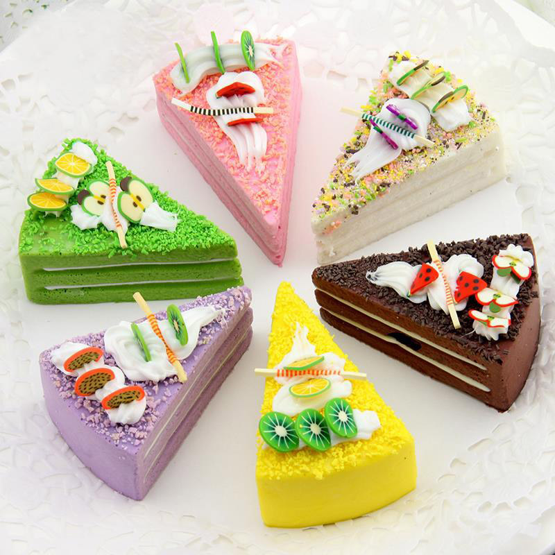 1pc Cute PU Fridge Sticker Artificial Fruit Cakes Dessert Fake Food Decor Photography Simulation Cake Model Tea Table Decoration
