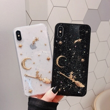 Luxury Space Moon Glitter Phone Cases For iphone XS MAX XR 7 8 Plus Stars Planet Case iPhone X 6S 6 Funda Soft Cover
