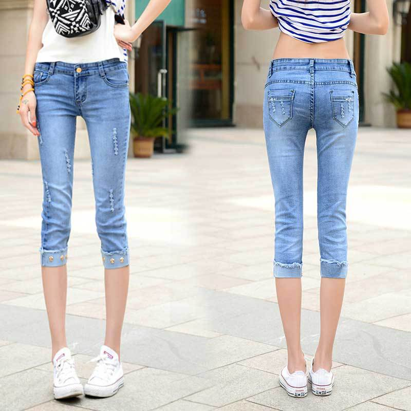 2019 New Style Elasticity Tight-Fit With Holes Capri Jeans Women's Summer Versatile Slim Fit Pants Students Shorts