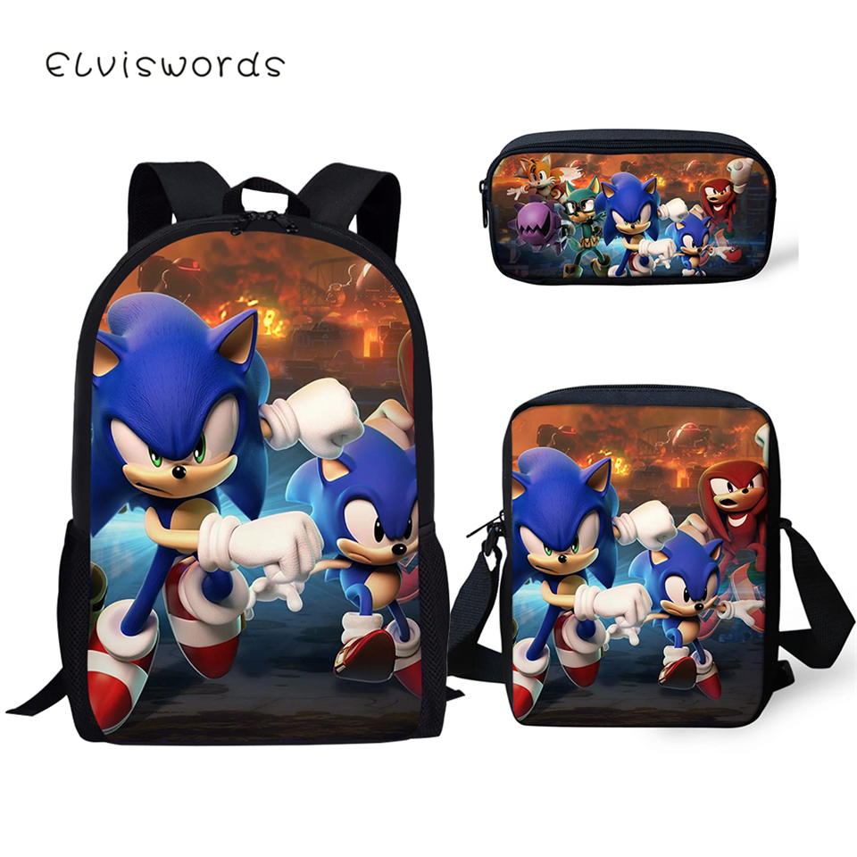 ELVISWORDS Fashion Students School Backpack Set Sonic The Hedgehog Pattern Kids School Book Bags Cartoon Designer 3PCs/SET Bags