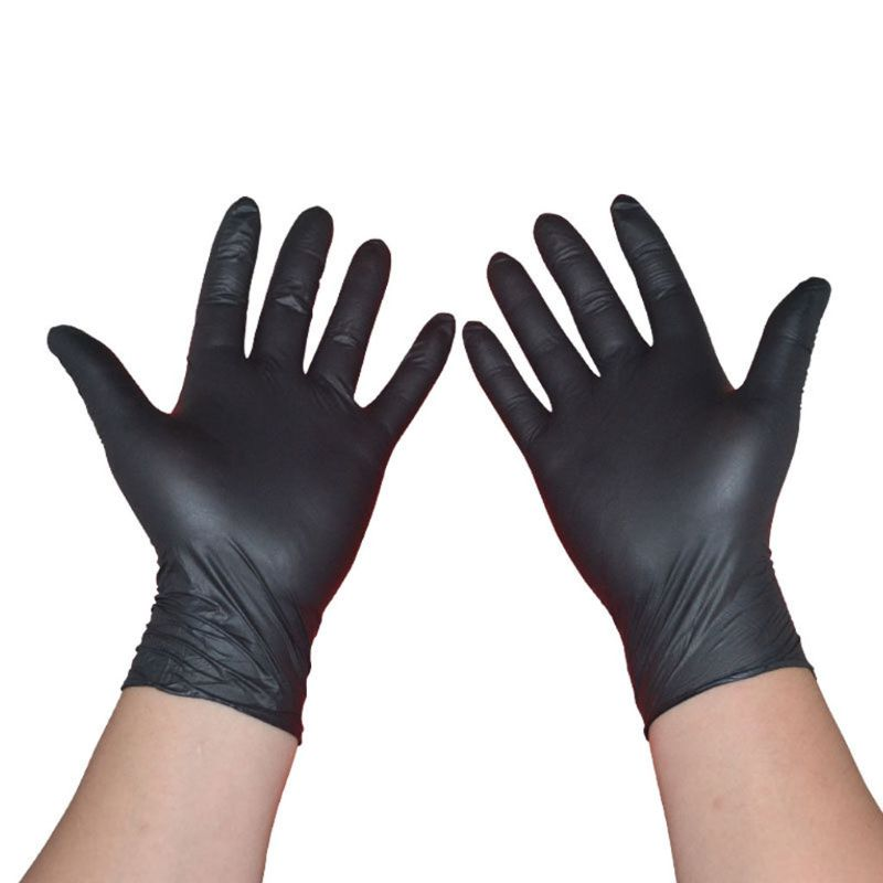 100pcs Nitrile Gloves Rip Resistant Disposable Black Gloves Work Safety Gloves