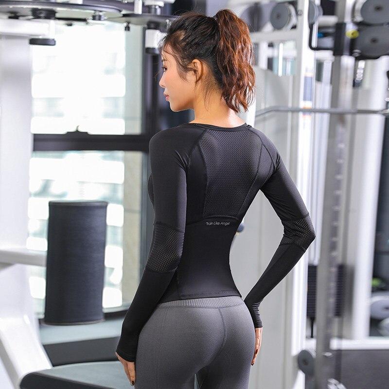 2020 New Blue Black Rose Sports Tops Gym Women Fitness T Shirt Woman Long Sleeve Yoga Top Mesh Womens Gym Tops Sport Wear Women