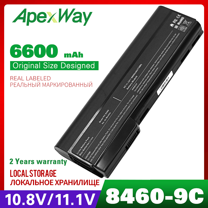 6600mAh Laptop Battery For HP EliteBook 8460 8470p 8470w 8560p 8570p ProBook  6465b 6470b 6475b 6560b 6565b 6570b 6360b 6460b