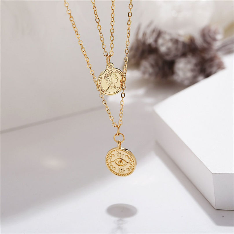 New Fashion Jewelry Pentagram Pendant Clavicle Chain Vintage Star Crescent Three-Layer Women Necklace Choker 4O24 (16)