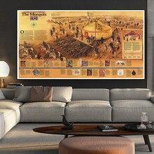 225*150 cm os mongóis retro mapa não-tecido lona pintura da parede arte cartaz e impressões adesivo de parede cartão sala de estar decoração de casa