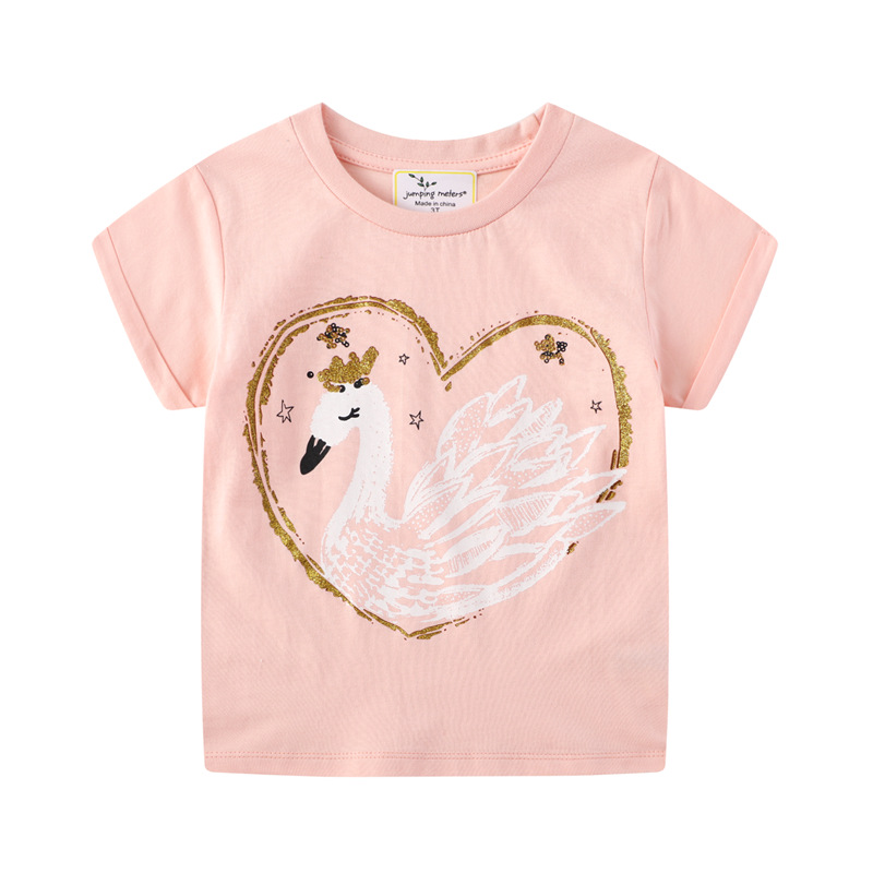 Baby Girl Summer Clothes Tops Flower Swan Tees Shirts Outfits Cute Infant T Shirts Lovely Children Clothing Kids Summer Clothes 7