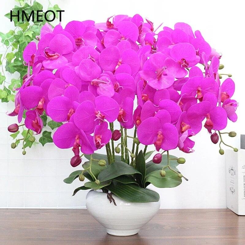 Высококачественный реалистичный полиуретановый Орхидея, листья фаленопсиса, искусственный цветок, горшечные растения, Свадебная вечеринк...