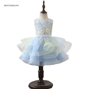 Blue Lace Appliqued Flower Girl Dress Embroidery Princess Pageant Dress Little Children Wedding Party Ball Gown for 2-12 Years 2016 new spring flower girl princess dress kid party pageant wedding bridesmaid tutu ball bow white dress 2 4 6 8 10 12 years