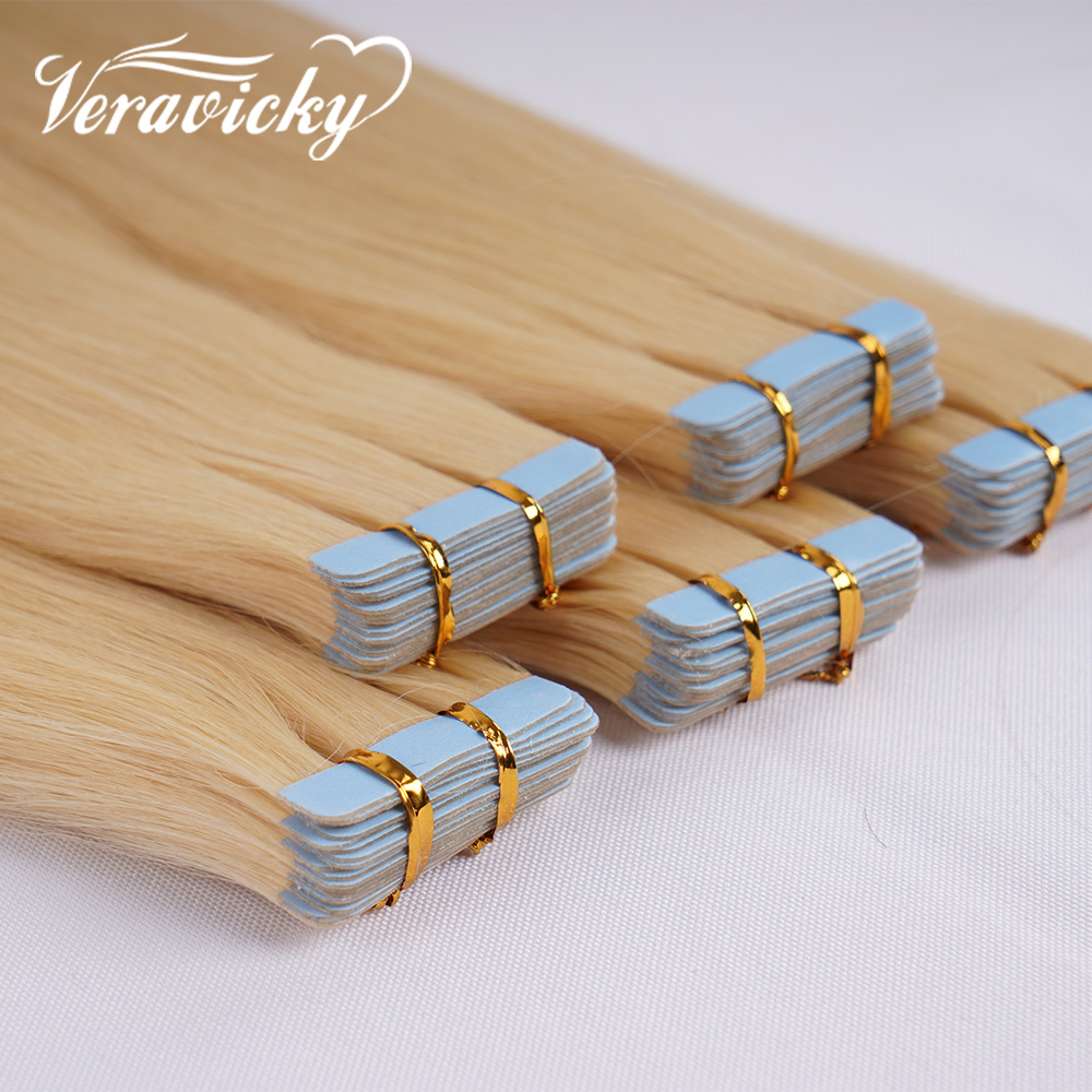 Tape In Extensions Human Hair PU Tape Seamless Skin Weft 16-22inch Machine Made Remy Natural Hair Extensions