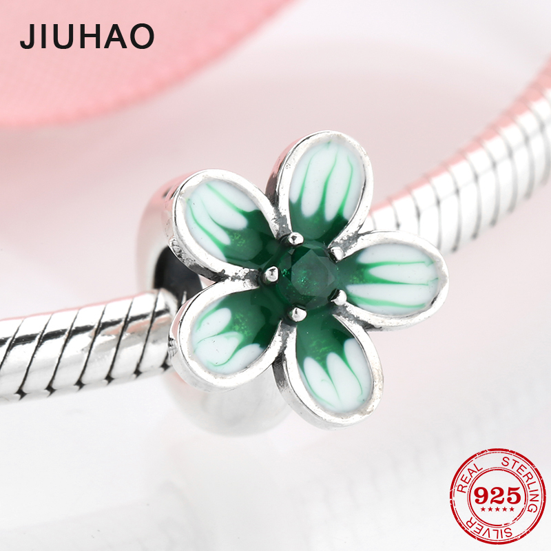 925 Sterling Silver Luxurious Green CZ Flower Enamel Spacer Stopper Beads Fit Original Pandora Charm Bracelet Jewelry Making