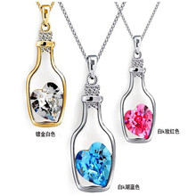 Creative Lady Fashion Hope Bottle Necklace Heart Shape Austrian Crystal Pendant Drift Chain Jewelry