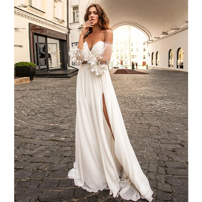 Verngo Beach Wedding Dress Side Slit Wedding Gowns Ruff Sleeve Simple Bride Dress Boho Wedding Dress Vestidos De Novia