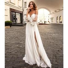 Verngo Beach Wedding Dress Side Slit Wedding Gowns Ruff Sleeve Simple Bride Dress Boho Wedding Dress Vestidos De Novia