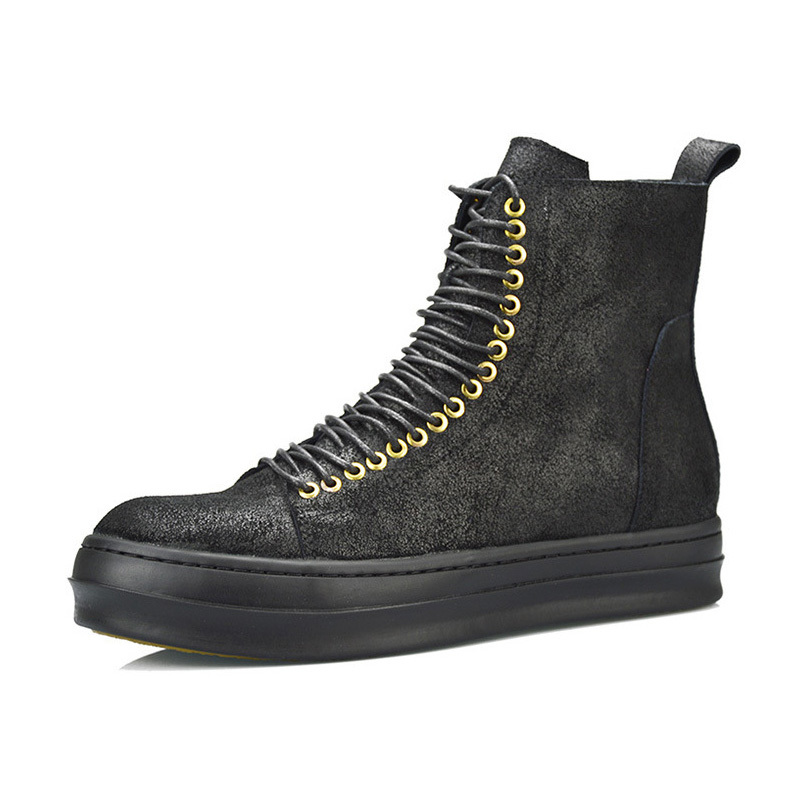 Retro Winter New Fashion Genuine Leather High Top Mens Matin Boots British Male Shoes High Quality Brand Footwear Lace Up Zipper