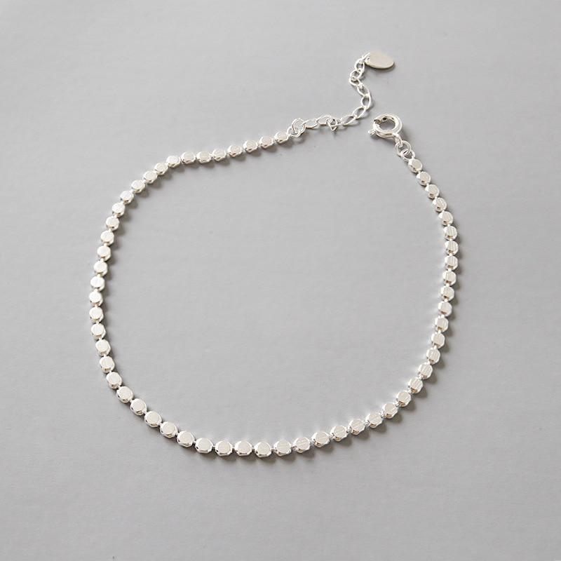 100% 925 Sterling Silver Anklets Women 2020 Geometric Anklets Foot Jewelry Bracelet Leg Chain tobilleras pulsera para tobillo