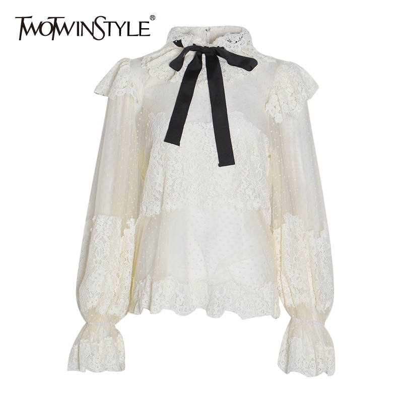 TWOTWINSTYLE Embroidery Patchwork Mesh Women's Shirts Stand Collar Lantern Long Sleeve Lace Up Blouse Female Fashion New 2019
