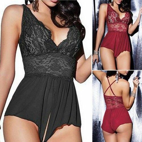 Ladies Women Lace V-neck Sexy Lingerie Bodysuit Jumpsuit Nighty Nightwear Underwear Bikini Cover Up Beachwear