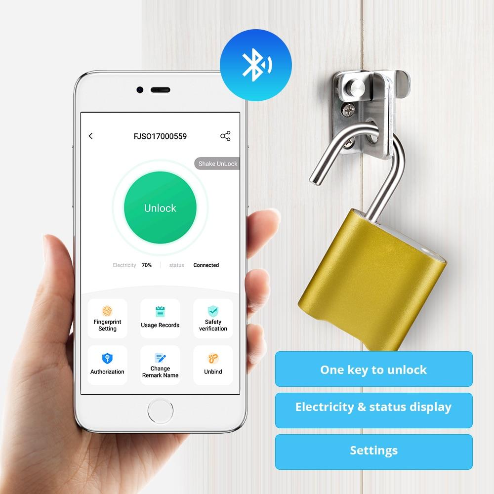 Mini Bluetooth Lock IP65 Waterproof Keyless Fingerprint Unlock Anti Theft USB Padlock Door Lock IOS Android Phone APP ControI
